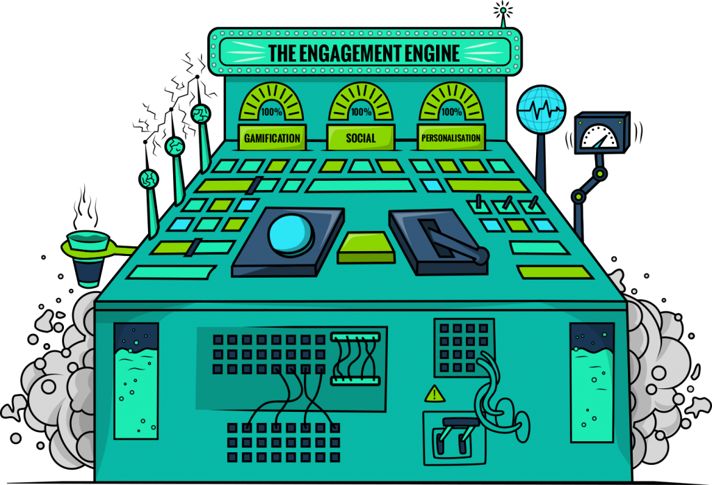 engagement engine illustration without magnifying glass