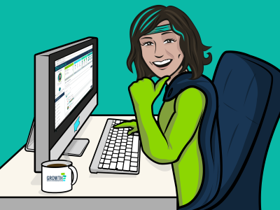 Smiling employee at computer