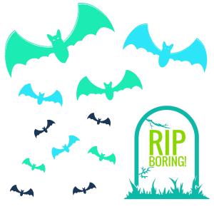 RIP Boring Headstone Bats Flying