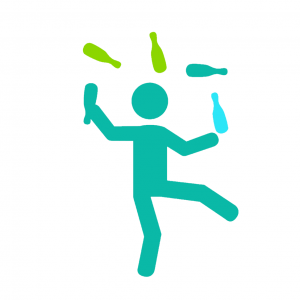 Stick man juggling