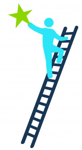 Climbing ladder reaching for a star