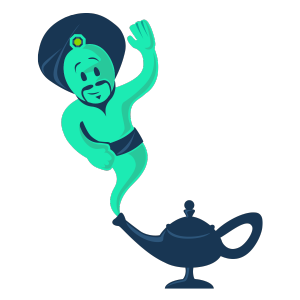 Genie popping out of lamp