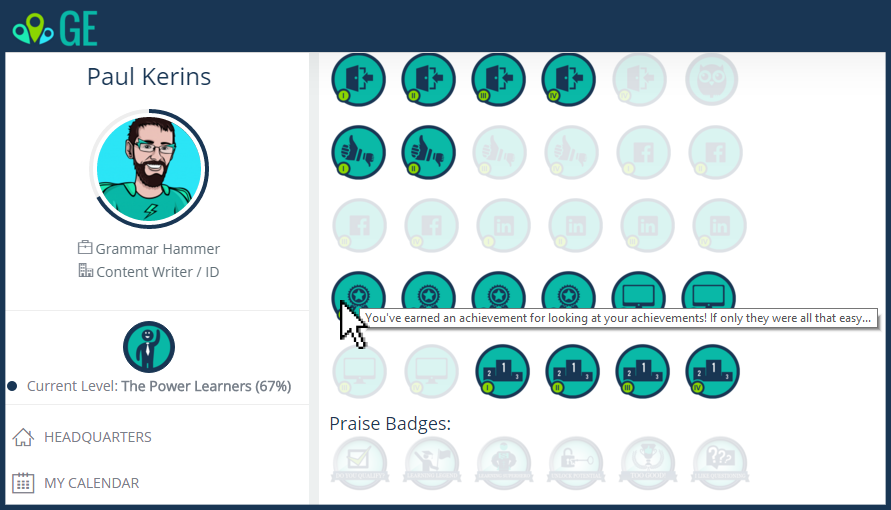 reward learners with achievements and badges