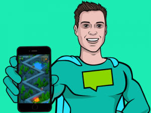 Superhero holding a phone displaying a mountain themed game template