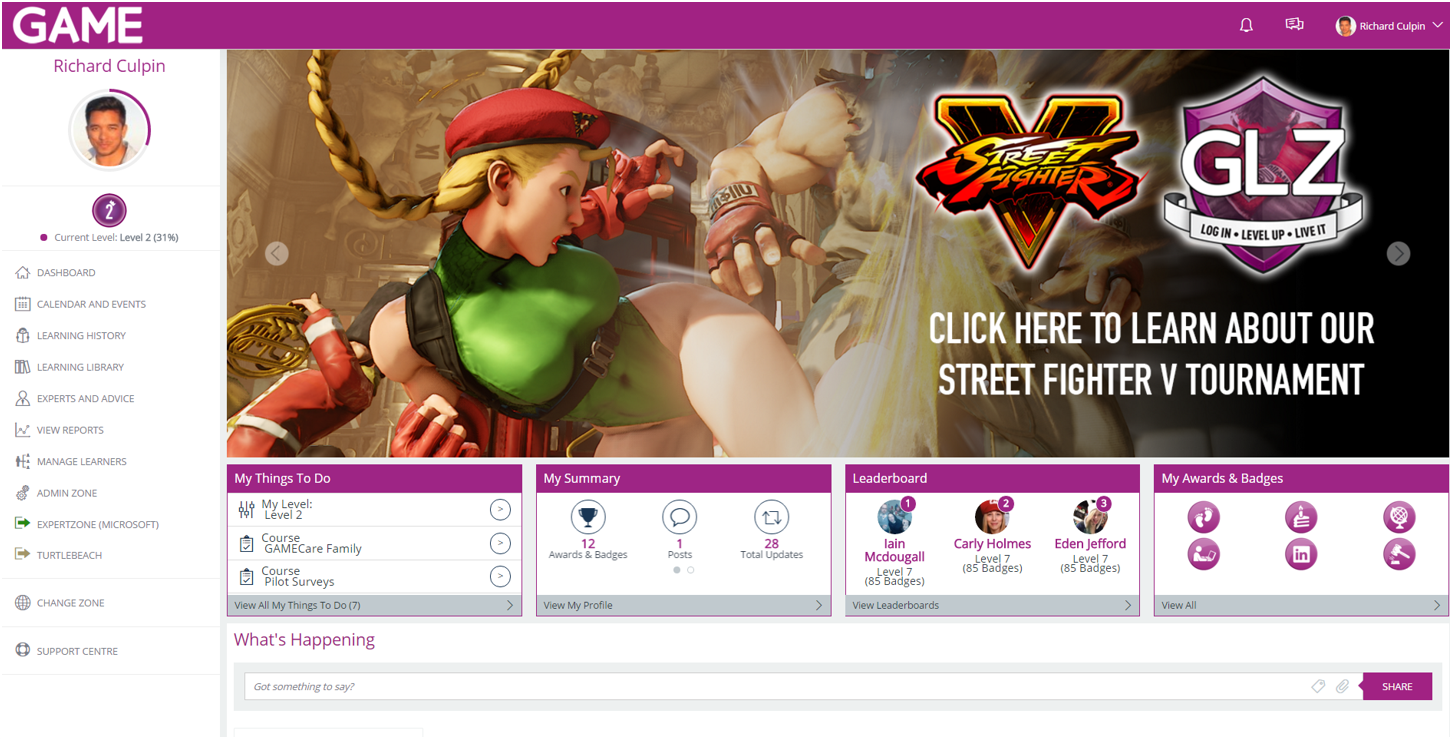 GAME User Dashboard (Street Fighter)