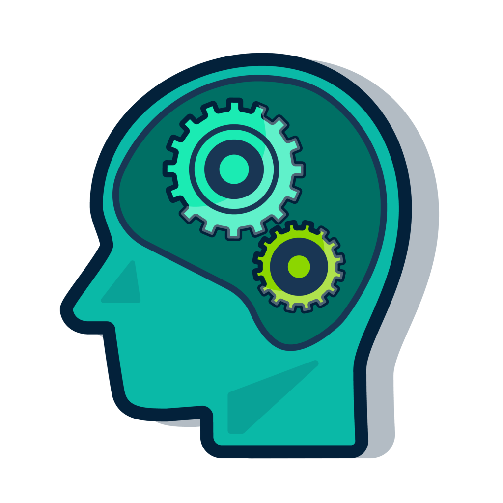 An image of a head with cogs showing. This image represents educational psychology.