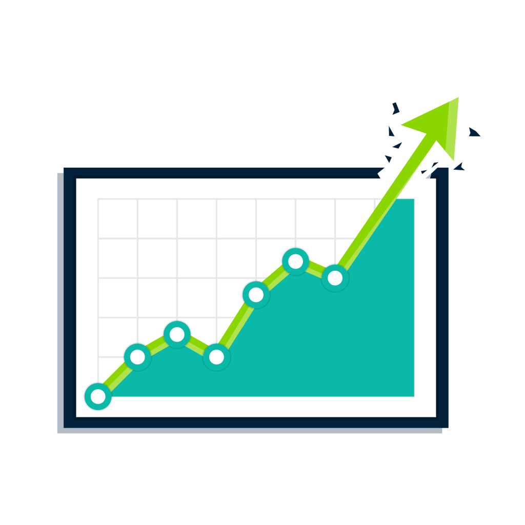 A chart showing an upward direction that would be reflected in an elearning evaluation.