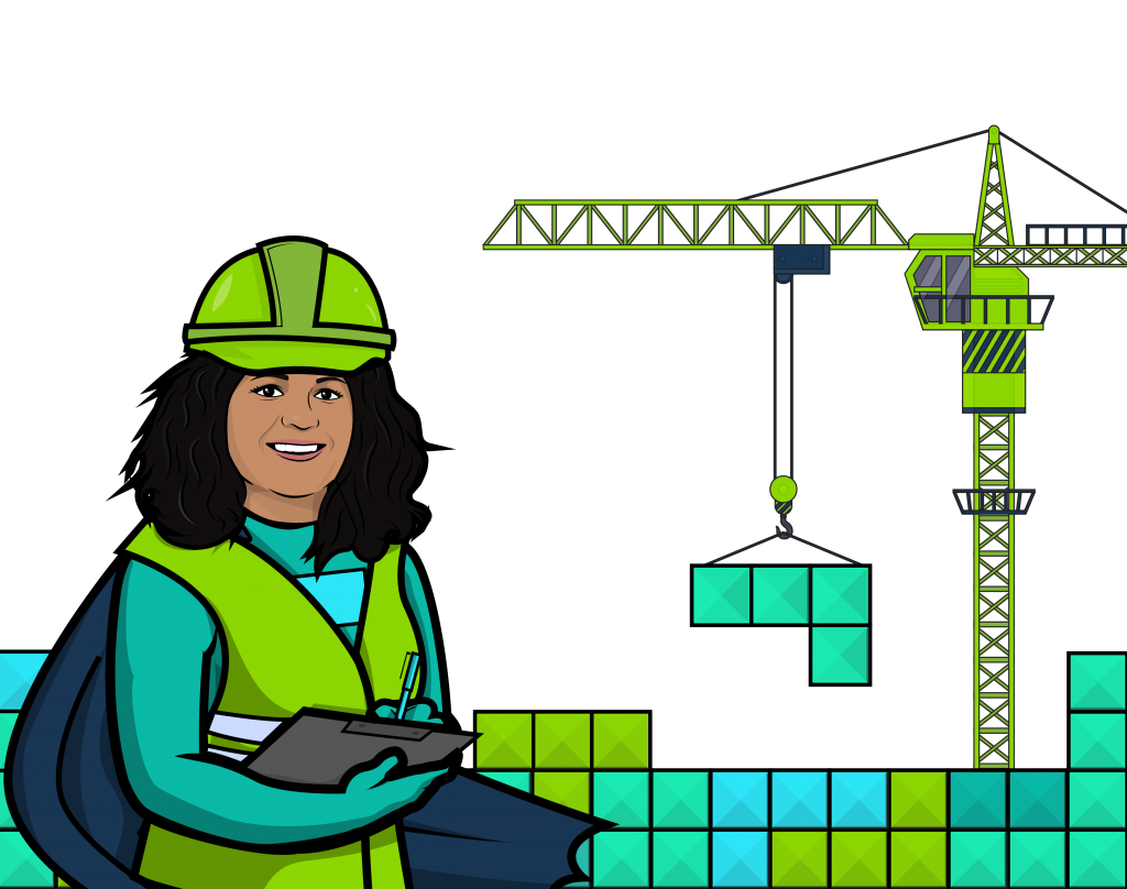 A construction worker stands with a notepad as a crane lifts tetris blocks into place.