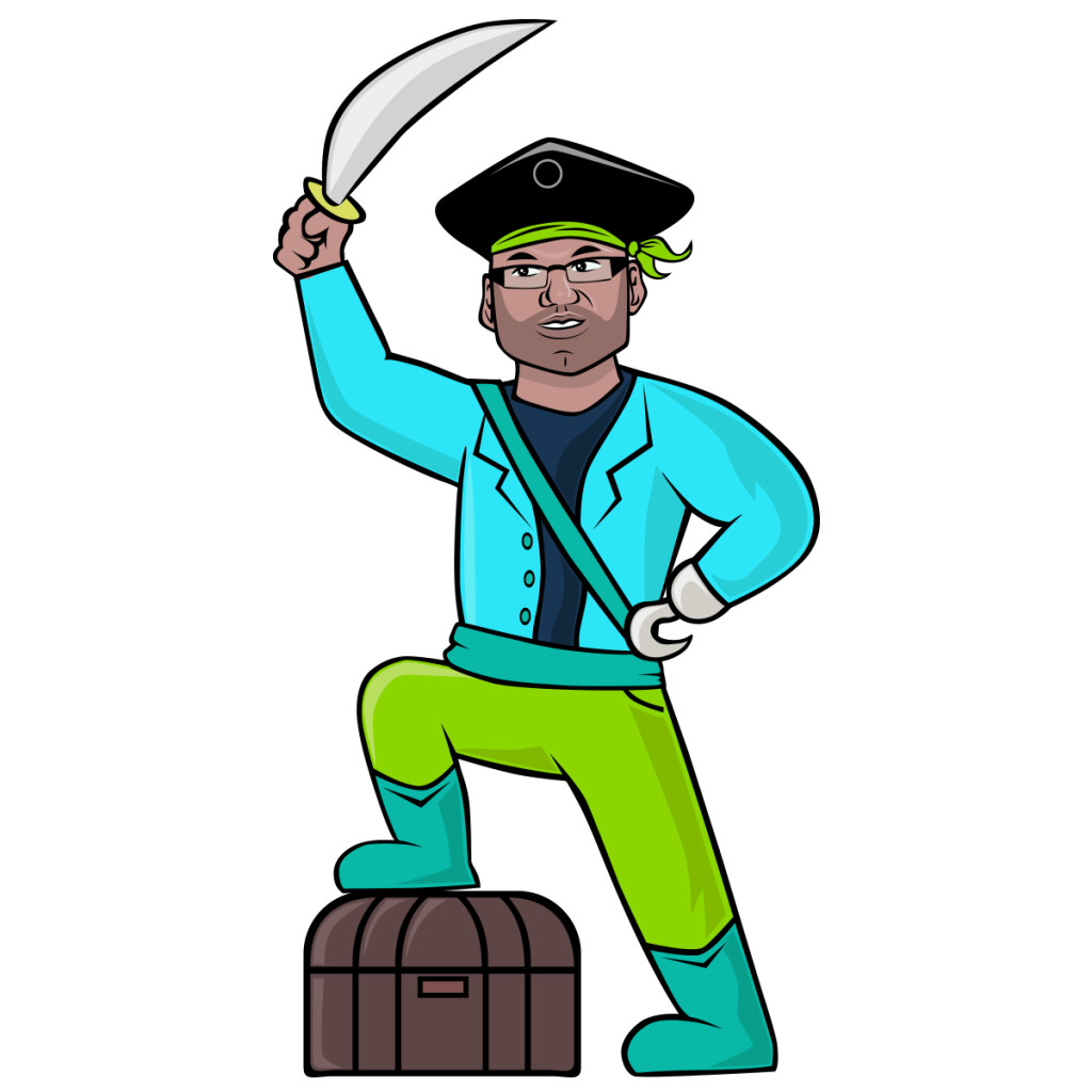 A pirate wearing ablur jacket and resting a leg on a barrel. He has a sword and a hook.
