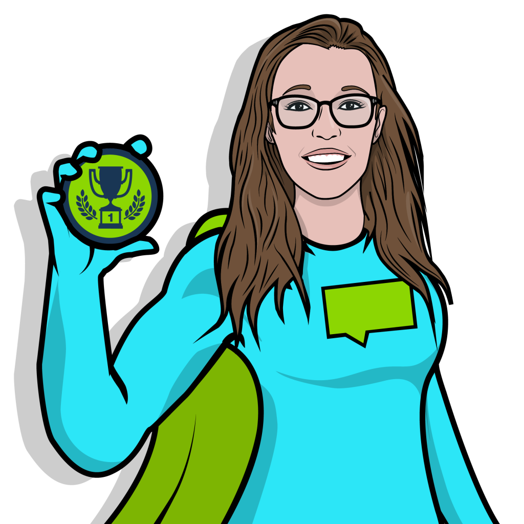 A superhero wearing glasses holding a green badge.