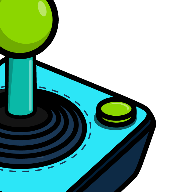 A game controller with a bright green joystick and button.