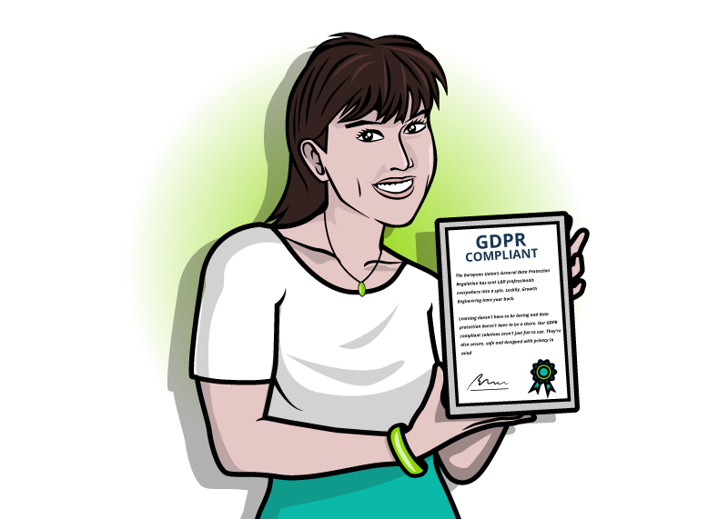 An image of a data protection officer holding a GDPR policy.
