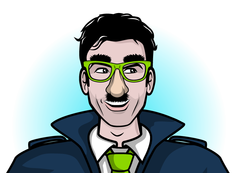 A superhero who has kept his personal identity secure. He is wearing bright green glasses with a false nose and bushy moustache.