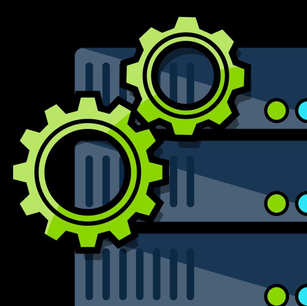A server processing data.