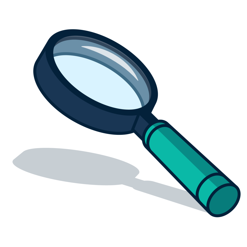 A magnifying glass being used to scrutinise.