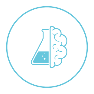 icon of a brain and a chemical bottle