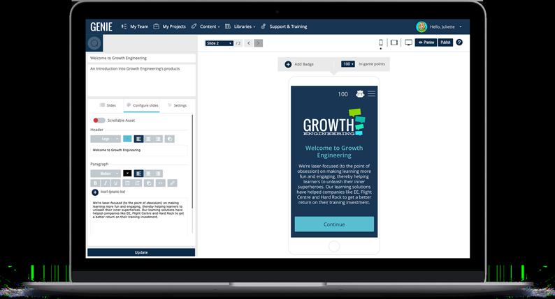 Genie Authoring Tool Content Builder Screen