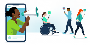 A woman representing an L&D expert/influencer with a megaphone emerging from a phone screen. To the right of her is three people getting her notifications on their phones.