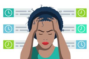 A woman stressed about her routine while remote working