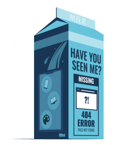 A milk carton with missing 404 error on it
