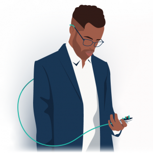 A man standing with a plug in his hand connected to his glasses to represent being unplugged